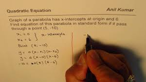 equation of parabola from two x intercepts and a point