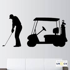 golf club buggy golfer sport hobby ball boys  on golf wall art uk with golf club buggy golfer sport hobby ball boys wall art stickers decal