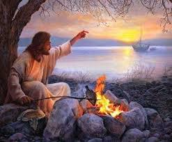 Resultado de imagem para jesus na prai com pao e peixe