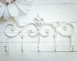 Shabby Chic Coat Rack 100 COLORS Multi Hook Fleur De Lis Decor Metal Wall Hanger Wall 22