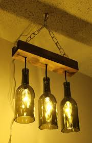 3 wine bottle pendant lamp design come with rectangular wooden canopies plus chain design for hook