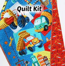 Baby Quilt Kits | Kristin Blandford Designs & Quilt Kit Let's Build Construction Panel Quick Easy Fun, Beginner Project,  Boy Baby Adamdwight.com