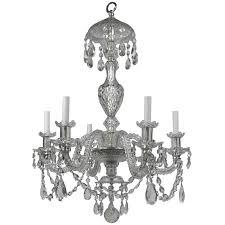 georgian style cut crystal six light chandelier by e f caldwell for