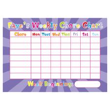 Personalised Weekly Chore Charts