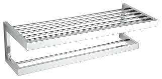 modern towel rack. Rikke Contemporary Stainless Steel Towel Bar With Shelf, Chrome Modern Rack S