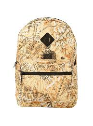 backpack from harry potter with marauder s map print design padded shoulder straps fully padded back panel and web haul loop