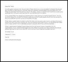 How To Write A Recommendation Letter For Employee Software Developer Recommendation Letter Example Letter Samples