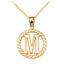 gold boutique rope circle letter m pendant necklace in 9ct gold