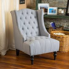 clarice tufted fabric silver tall wingback accent chair