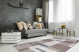 Wohnzimmer Teppich Modern Kasten Muster Teppiche Streifen Beige Creme Grau