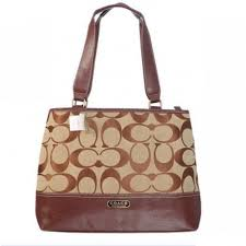 Coach Hamptons Weekend Signature Colorblock Large Brown Totes AGE