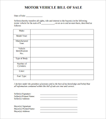 Template Of Bill Of Sale On A Car Download Them Or Print