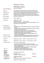 Marketing analyst resume