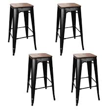 wooden seat bar stools. Stackable Bar Stool In Black With Dark Elm Wood Seats Wooden Seat Stools