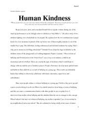human kindness essay russell andrea witzke leavey human kindness human kindness essay russell andrea witzke leavey human kindness when people hurt you over and over think of them like sandpaper they scratch and