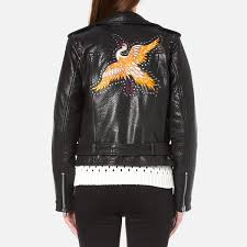 gestuz women s heep embroidered stud leather jacket black image 3