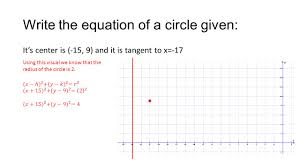 8 write the equation of a circle given it s center is 15 9 and it is tangent to x 17 using this visual we know that the radius of the circle is 2
