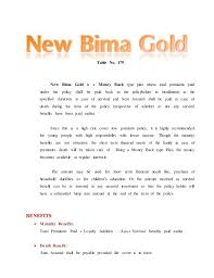 Lic New Bima Gold Policy Chart Lic