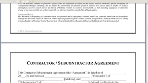 Subcontractor Contract Template Contractor Subcontractor Agreement YouTube 8