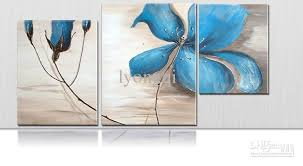 oil painting huge blue flower wall art bright orchid three sets framed large beautiful abstract quality