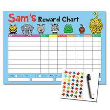 Personalised Blue Reward Chart Kids Childrens Sticker Star