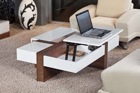Coffee Table, Brilliant White Rectangle Modern Laminated Wood Coffee Table  Storage Design Ideas To Improve