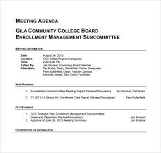 Meeting Agenda Sample Doc Interesting 48 Business Meeting Agenda Templates Free Samples Examples