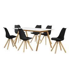 Encasa Esstisch Bambus Weiß Mit 6 Stühlen Real