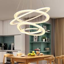 unique pendant lights white acrylic 4 ring 5 ring led oval chandelier 115w height adjule