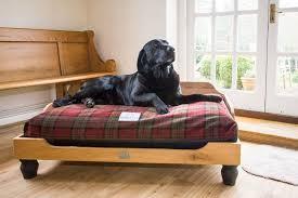 berkeley oak frame wooden dog bed with waterproof orthopaedic mattress and tartan cover jpg