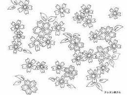 さくらの模様の着物の塗り絵 季節の花四季の花の大人の塗り絵
