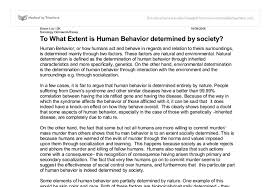 to what extent is human behavior determined by society a level document image preview