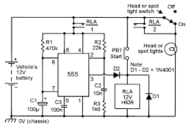 monostable circuits nuts volts magazine for the at the end of this period rla turns off and contacts rla 1 open breaking the supply connection to the timer circuit and the headlight switch