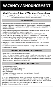 micro finance bank banking jobs requires chief executive officer micro finance bank banking jobs requires chief executive officer