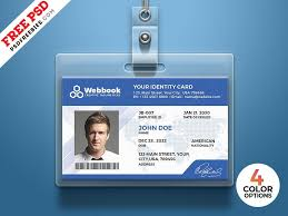 Id Card Templates Free Free Id Card Template Psd Set Id Card Template Employees