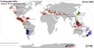 Terremoti nel mondo - rapporto sismico per martedí, 29 giugno 2021 /  VolcanoDiscovery
