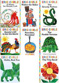 The Eric Carle Library Featuring 8 Classic Board Books Boxed Set [The  Greedy Python, The Foolish Toroise, Rooster's Off to See the World, Walter  the Baker, A House for Hermit Crab, Pancakes
