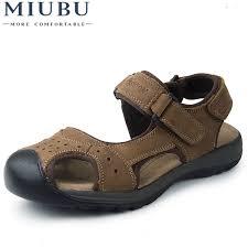 <b>MIUBU Brand Genuine Leather</b> Summer Soft Male Sandals Shoes ...