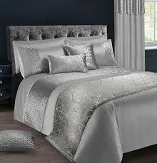 luxury duvet cover bedding set silver