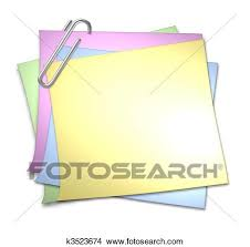 Blank Memo With Paper Clip Stock Illustration K3523674