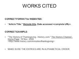Work Cited Works Cited Correct Format For Websites Ppt Video Online