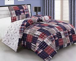 3 piece baseball sports theme plaid red white and blue comforter set twin size