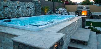 Swiming Pools Used Endless Pool Swim Spa With Swim Spa With Hot Tub And  Waterfall Also Images About Swim Spas And The Benefits Of Getting Backyard  Swimming ...