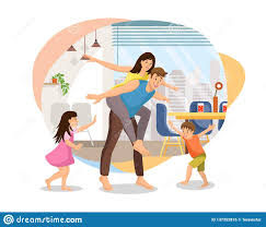 New Home Cartoon Images Happy Parents Plating With Kids At Home Vector Stock Vector
