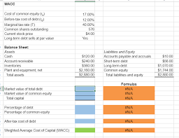 Online Balance Sheet Solved 1 Excel Online Structured Activity Wacc The Paul