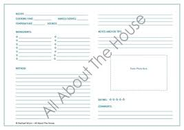 Recipe Form Templates Editable Printable Recipe Sheet Template Meal Planning Product