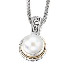 18k gold silver mabe pearl pendant