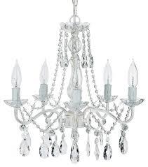 elizabeth 5 light wrought iron crystal chandelier whitewashed