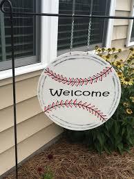 baseball garden flag welcome garden flag by happydaisiesdesigns