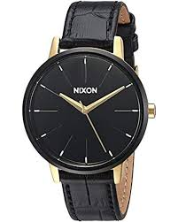 nixon black kensington stainless steel watch with leather band lyst